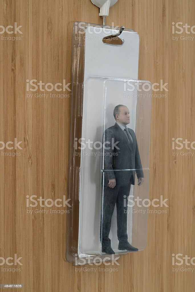 Blister Packaged Businessman Action Figure royalty-free stock photo