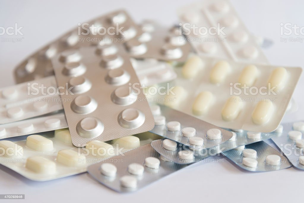 Blister packs of medicines and pills stock photo