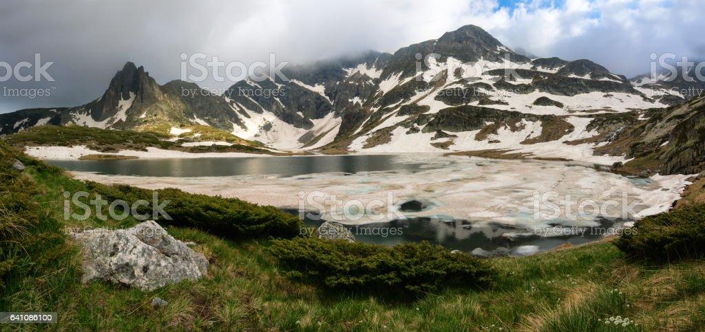 Bliznaka (Twin) Lake in the Rila Mountains, Bulgaria stock photo