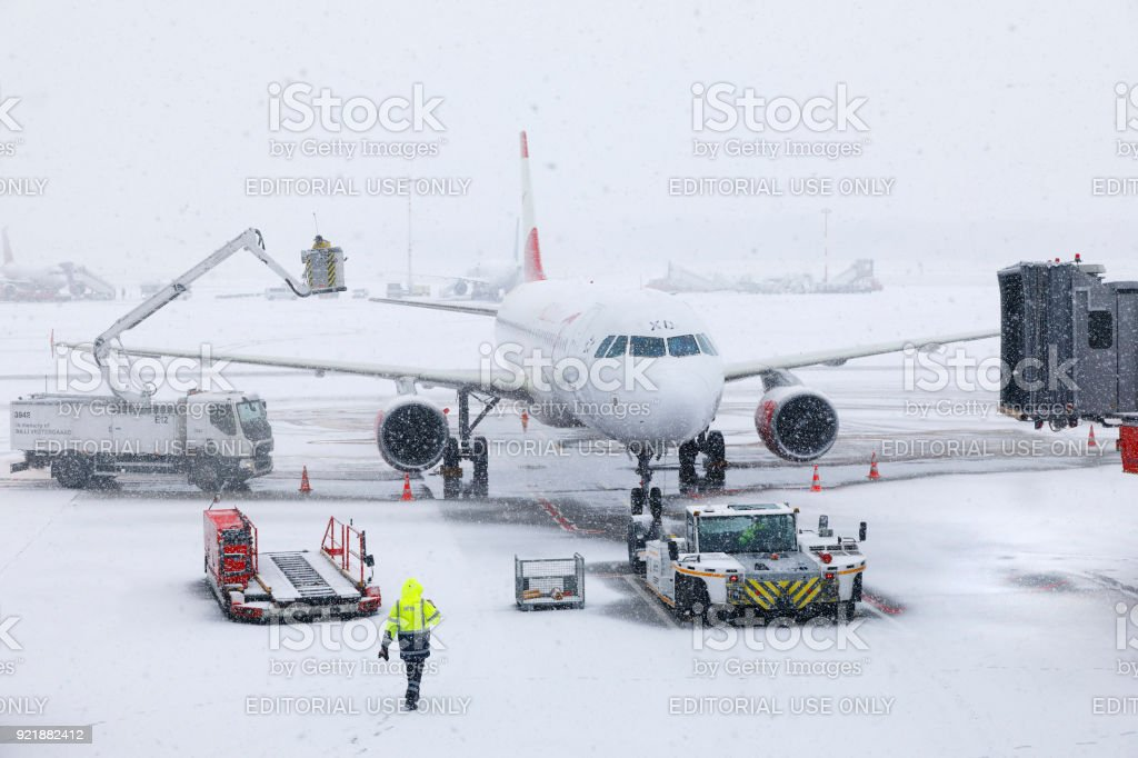 Blizzard at Hamburg International Airport stock photo