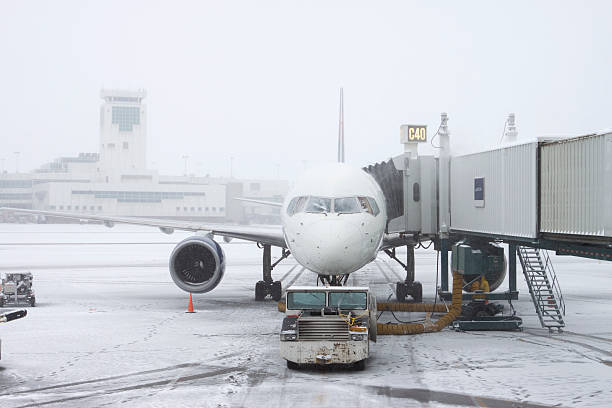Blizzard conditions Denver International Airport Colorado stock photo