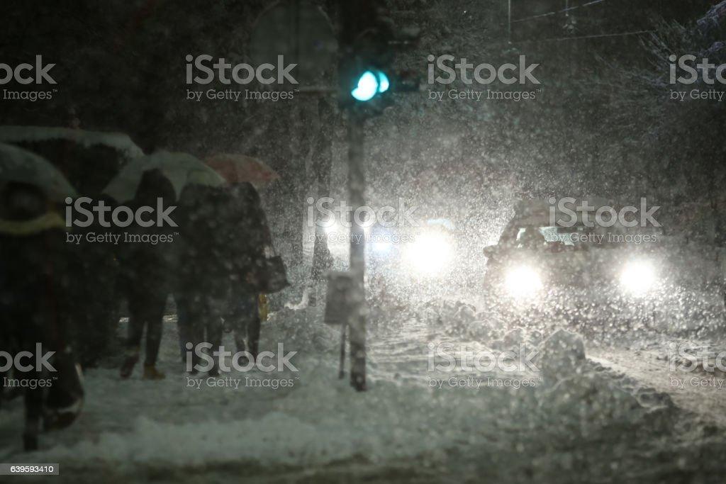 Blizzard in city stock photo