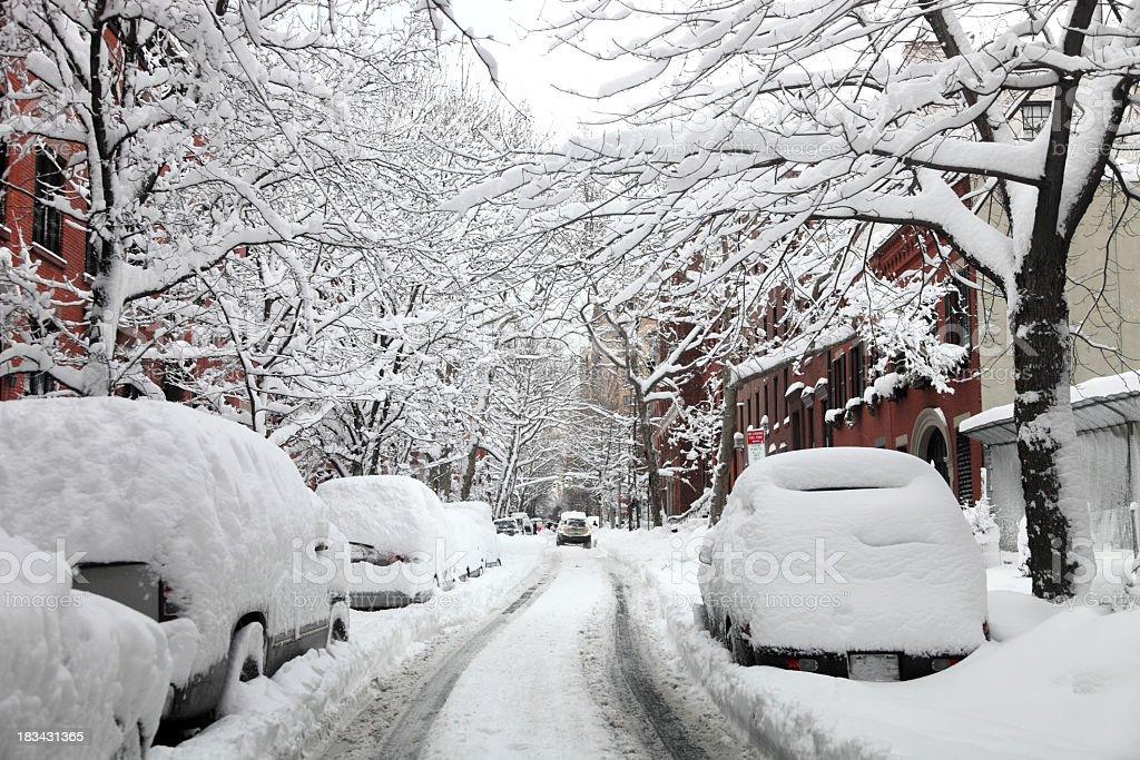 Blizzard in New York City stock photo