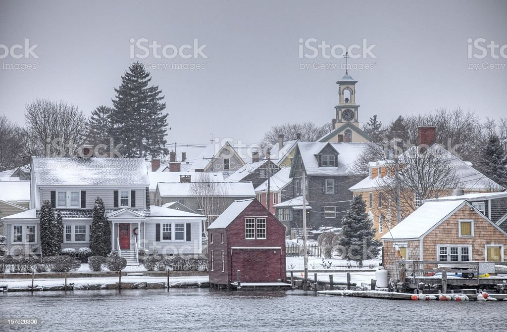 Blizzard in Portsmouth New Hampshire stock photo