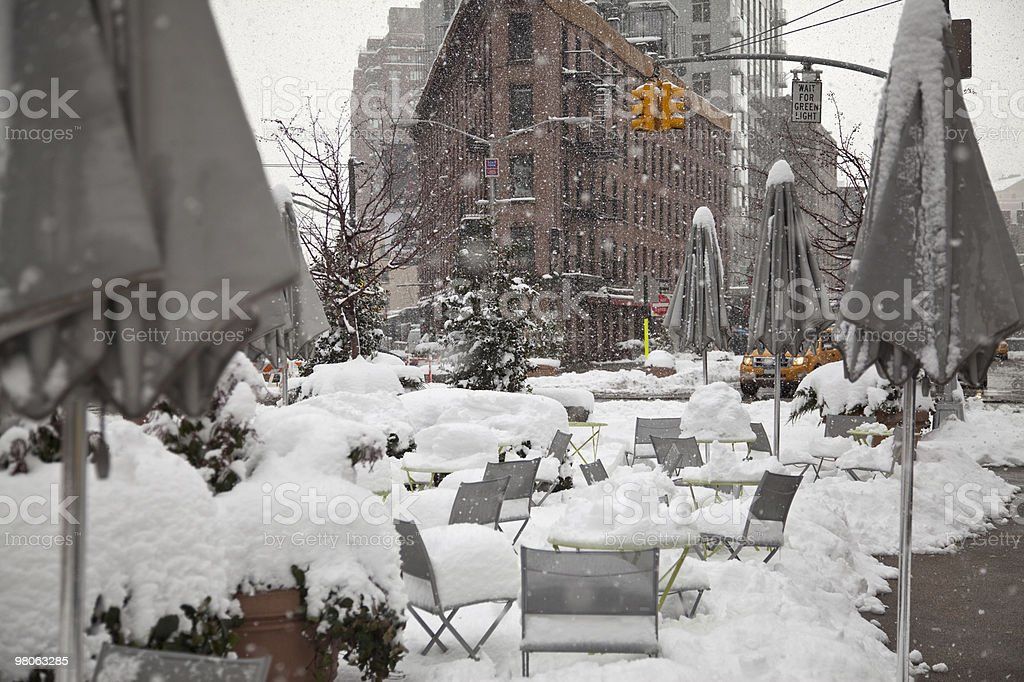 blizzard in the city royalty-free stock photo
