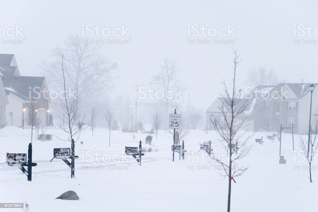 Blizzard in the neighborhood royalty-free stock photo