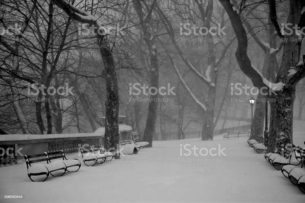 Blizzard Landscape NYC stock photo