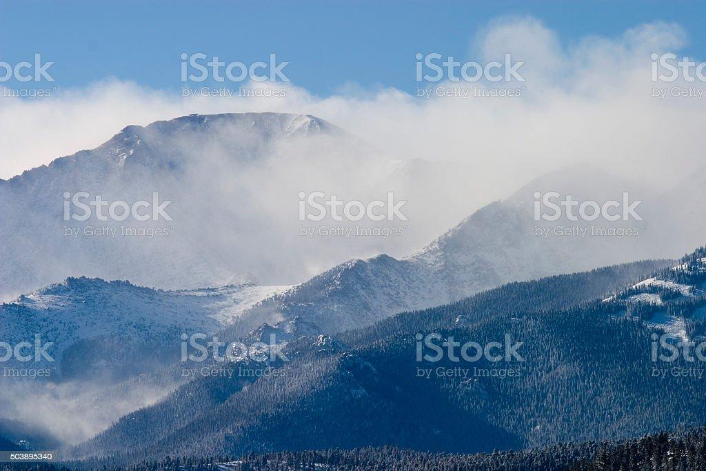 Blizzard on Pikes Peak Colorado stock photo