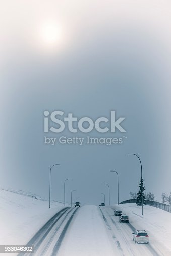 1127834626 istock photo Blizzard on the highway 933046302