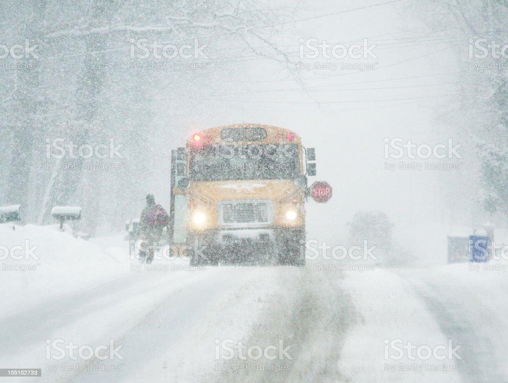 Blizzard Run for School Bus stock photo
