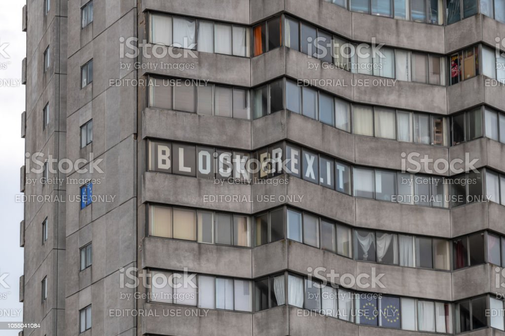 'Block Brexit' letters in window of tall building stock photo