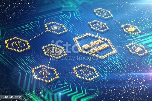 1177116437 istock photo Block chain and future concept 1131342622