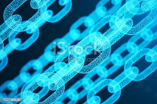 istock Block chain concept, digital block chain technology. Cryptocurrency, concept of digital code. Low polygonal grid of triangles glowing in blue dot network, abstract background, 3D illustration 1022368352