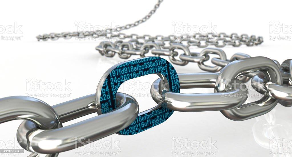 Concepto de la cadena de bloque - foto de stock