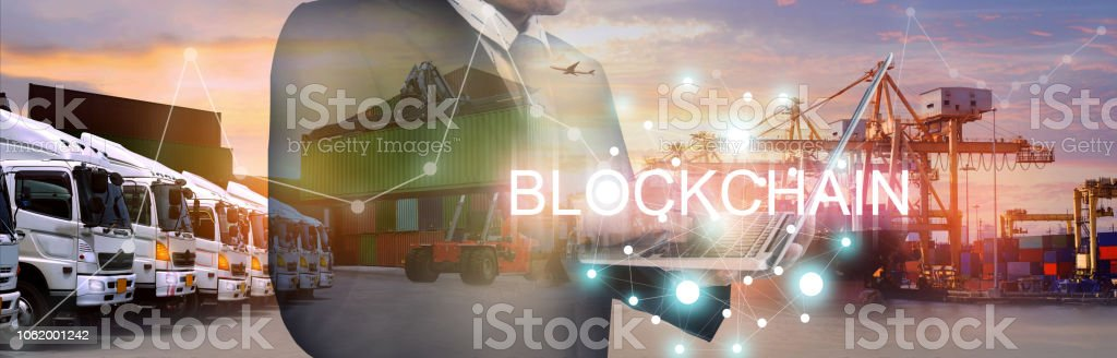 Block chain industry shipping business background. Block chain industry shipping business background. Block Shape Stock Photo