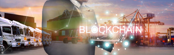 Block chain industry shipping business background.