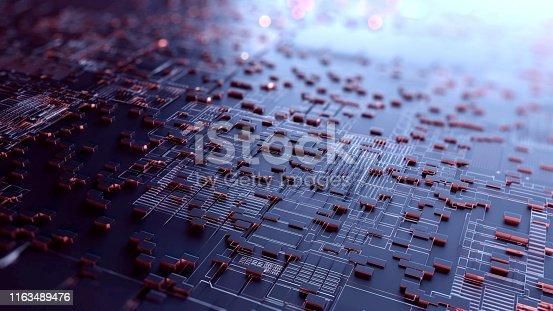 istock Block chain network. 3D Rendering 1163489476
