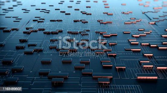 istock Block chain network. 3D Rendering 1163489502