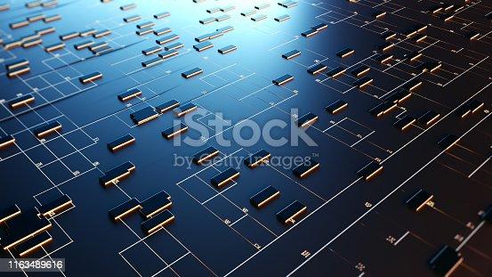 istock Block chain network. 3D Rendering 1163489616
