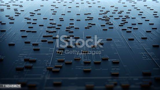 istock Block chain network. 3D Rendering 1163489625