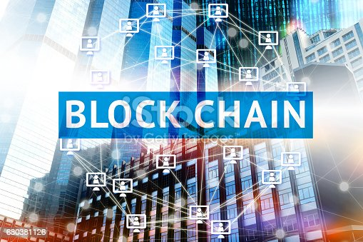 Block chain network concept , Distributed ledger technology , Block chain text and Network computer connection with building and binary coded background