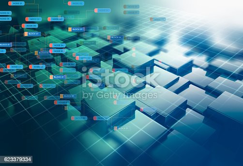 istock Block chain network concept on technology background 623379334