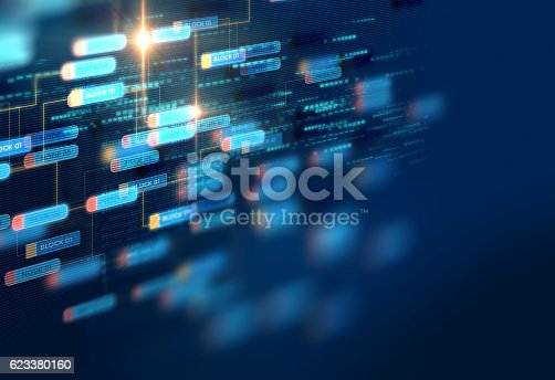istock Block chain network concept on technology background 623380160