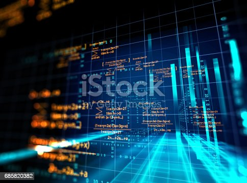 istock Block chain network concept on technology background 685820382