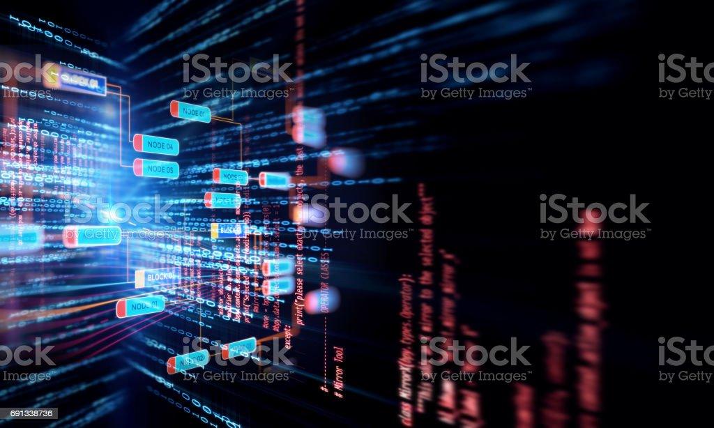 Concepto de red de la cadena de bloque en el fondo de tecnología - foto de stock