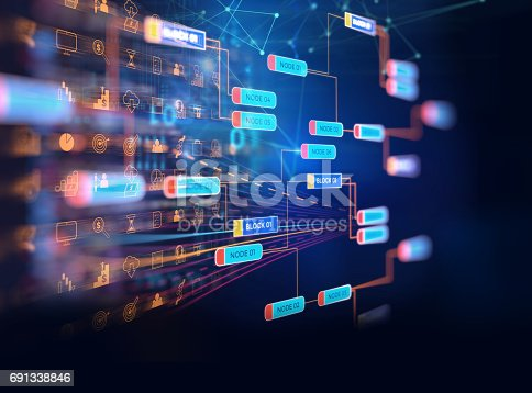 istock Block chain network concept on technology background 691338846