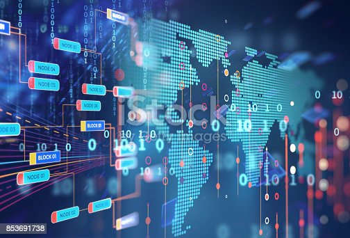 istock Block chain network concept on technology background 853691738