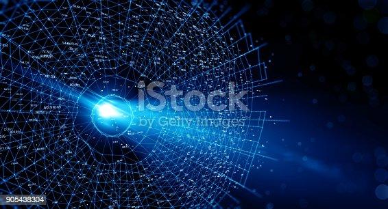 istock Block chain network 905438304