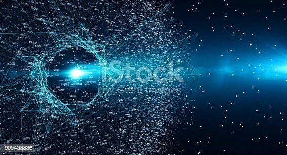 istock Block chain network 905438336