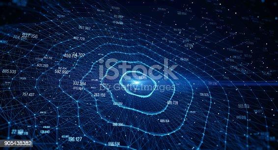 istock Block chain network 905438382