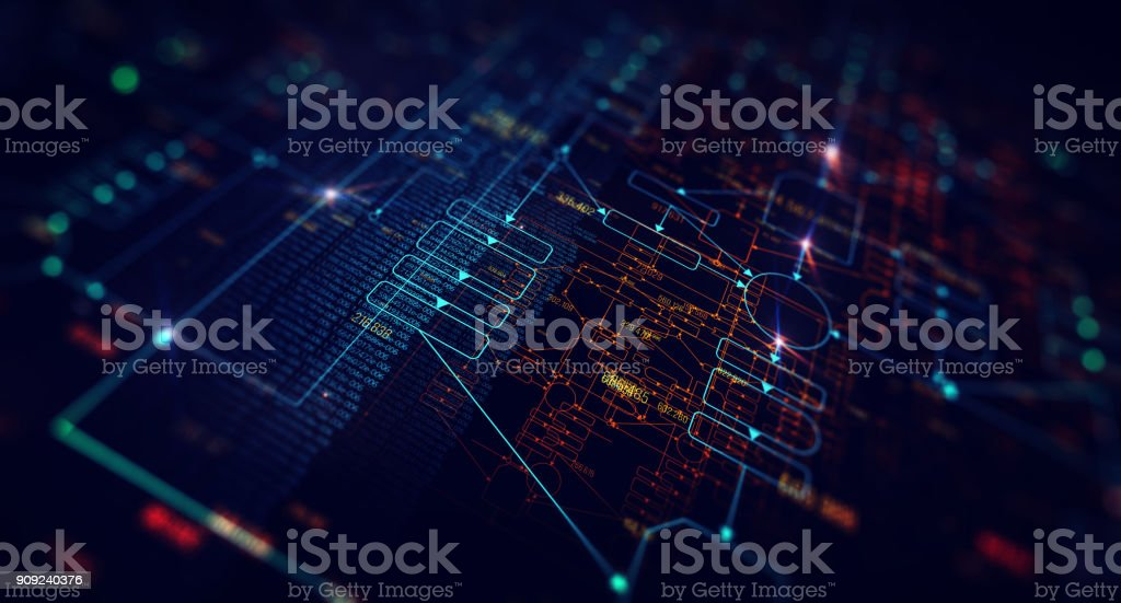 Block chain network stock photo