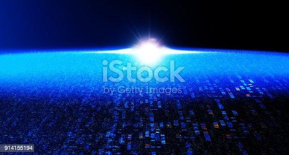 istock Block chain network 914155194