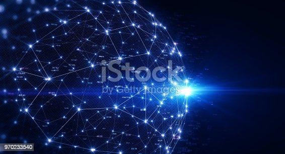 istock Block chain network 970233540