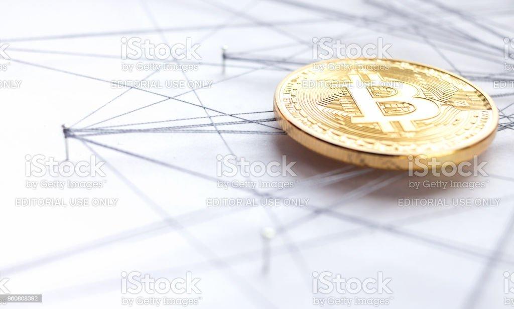 Block chain technology visualization stock photo