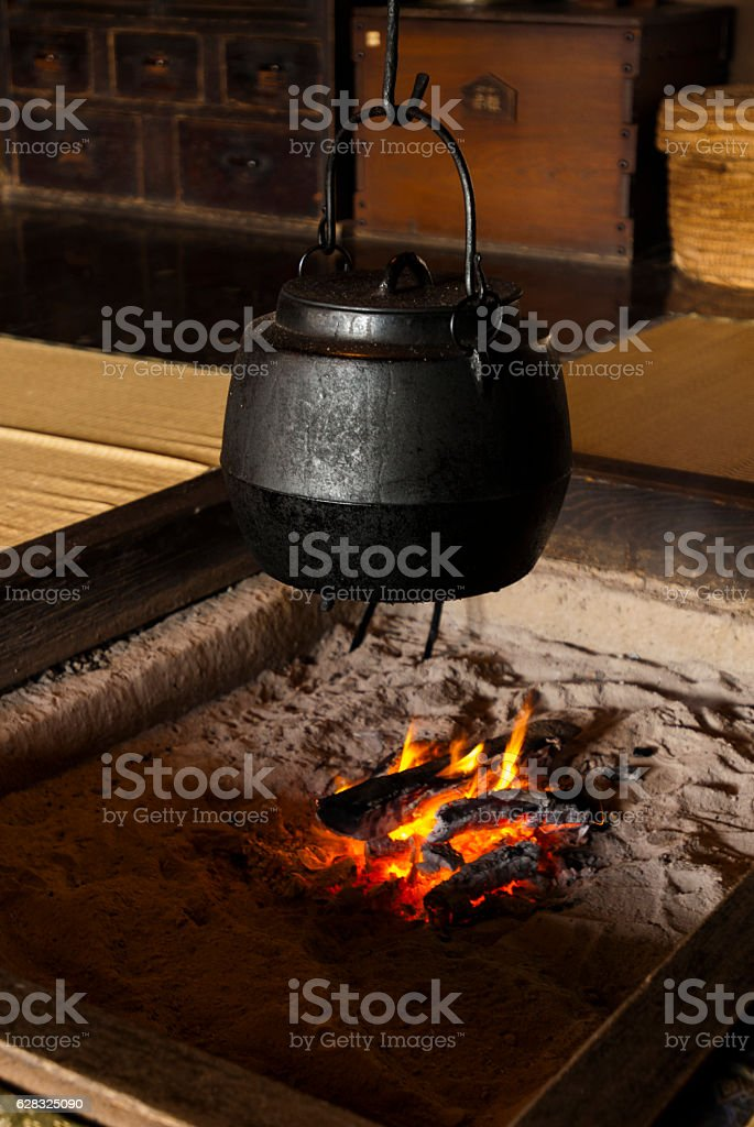 Block furnace or traditional Japanese heating equipment, cooking utensils stock photo