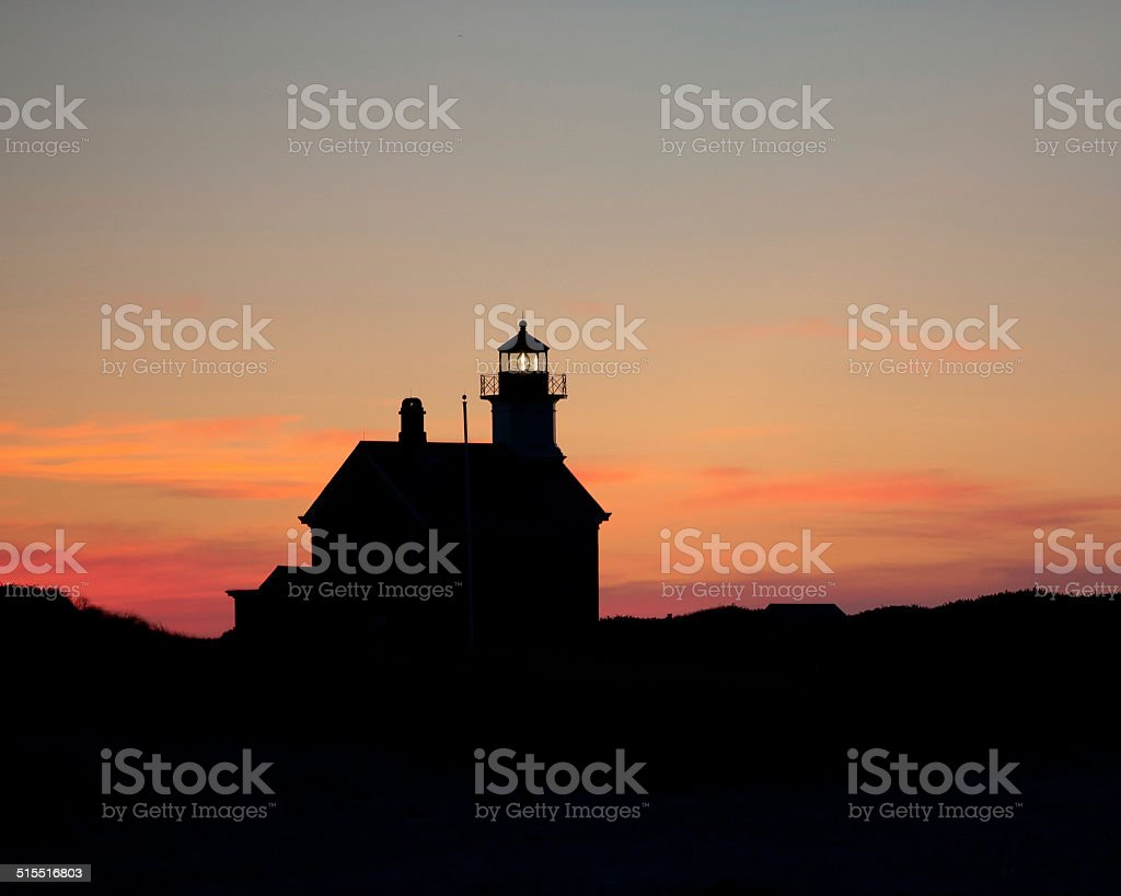 Block Island Sandy Point Lighthouse Sunset stock photo