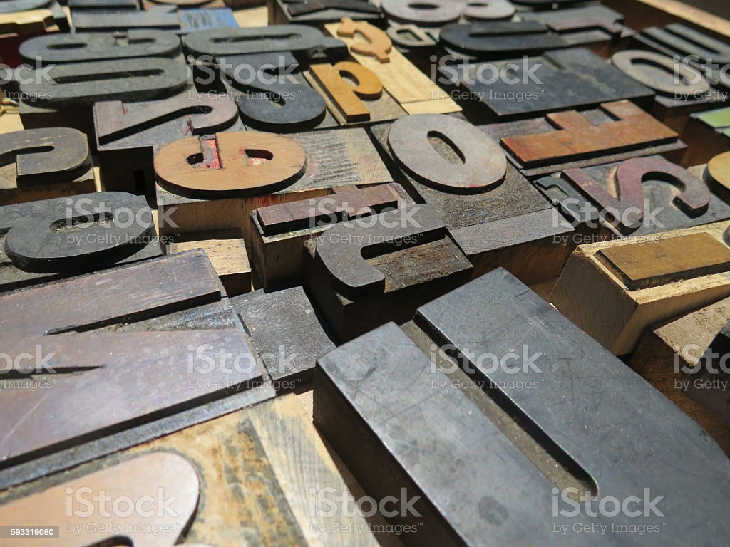 Block letters Alphabet and numbers U stock photo