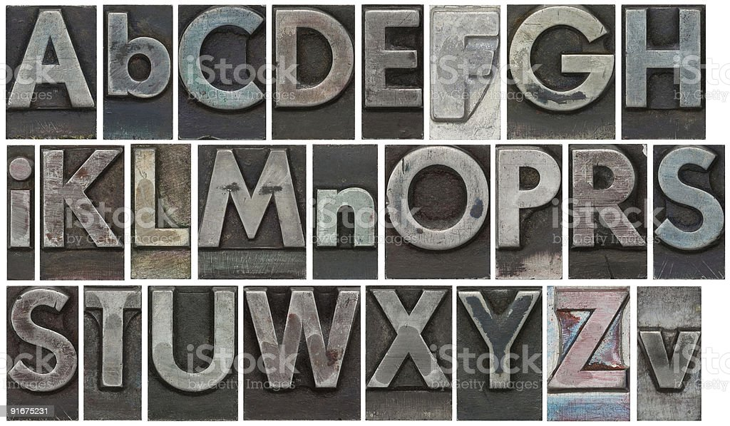 Block letters isolated on white stock photo
