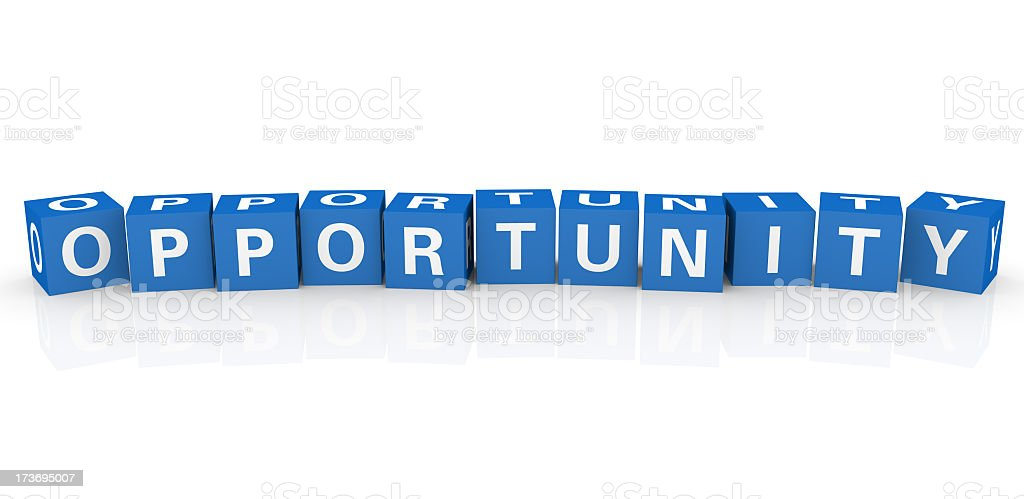 Block letters spelling opportunity against white background royalty-free stock photo
