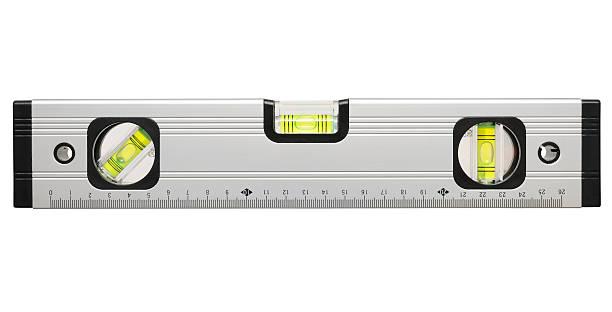Rue indicateur du niveau dans trois directions) isolé sur fond blanc - Photo