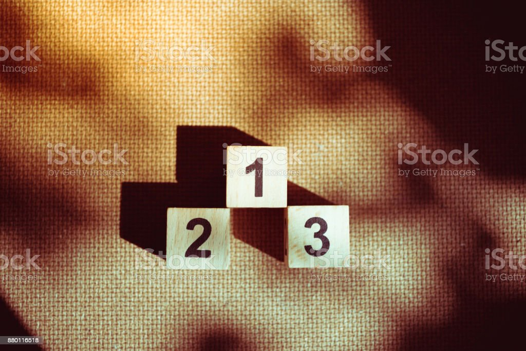 Block number one two three isolated stock photo