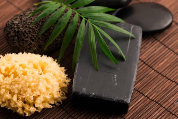 block of natural carbon soap stock photo