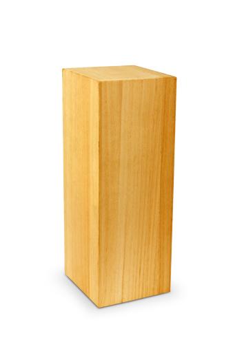 Block of wood on white background