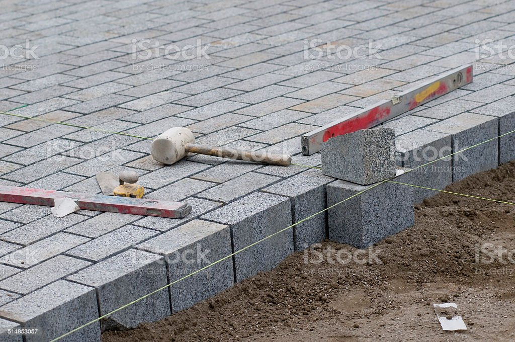 Block Paving and Tools stock photo