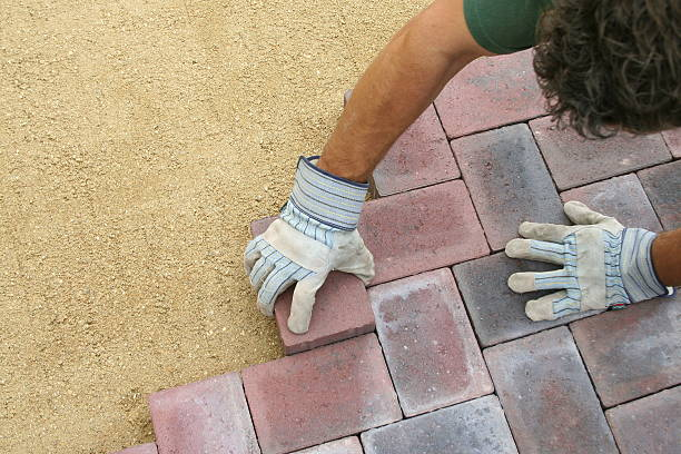 Block paving being layed stock photo