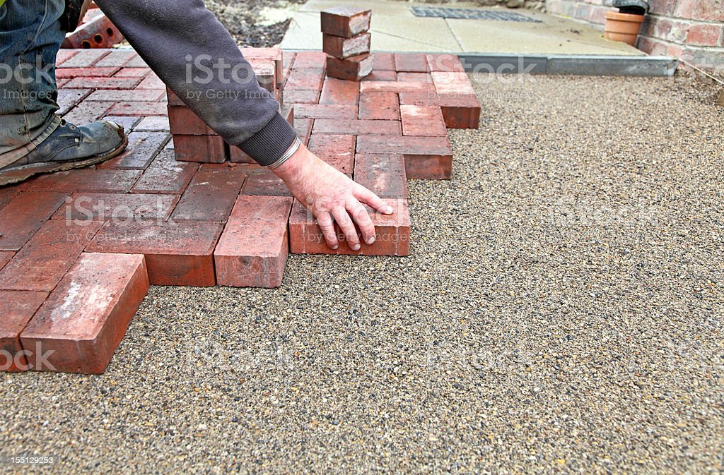 block paving drive getting layed royalty-free stock photo